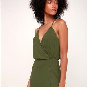 22151ecb9bb Lulu s Dresses - Palm Tree Breeze Olive Green Ribbed Midi Dress